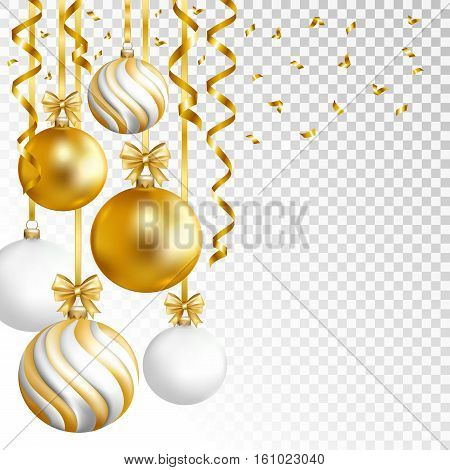Merry Cristmas and Happy New Year card with gold white and striped balls and gold serpentine on transparent background. Vector illustration.
