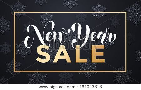Sale banner background for New Year shopping sale. Gold glittering frame, flat text with shadow snowflakes pattern. Design with for web online store or shop promo offer