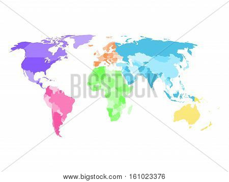Blank simplified political map of world with different colors of each continent - North America, South America, Europe, Africa, Asia and Australia. Vector illustration