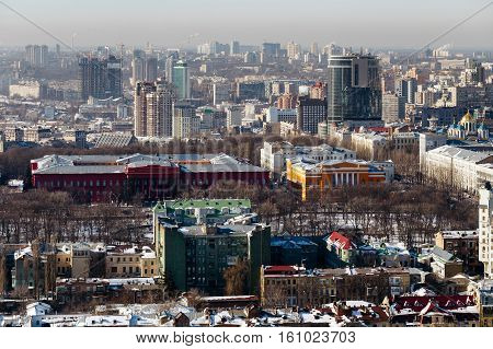 Top view of the Red University Building, the Library name Maksimovic and the old part of the city of Kiev, Ukraine  in winter day.