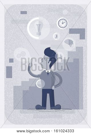 Successful Busines Man With New Idea Light Bulb Vector Illustration