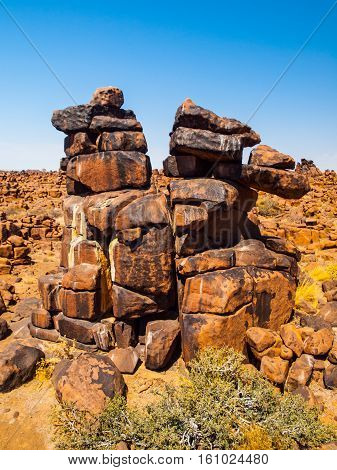 Giant's Playground rock formations on sunny day with clear blue sky near Keetmanshoop, Namibia, Africa