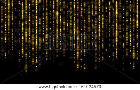 Sparkling lines of gold particles with shimmering light blurs. Luxury golden sparkling glitter threads of curtain backdrop of shiny sequins or fashion strass drops for Christmas, New Year decor