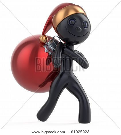 New Year's Eve happy man Santa Claus hat character carries bag Christmas ball gift decoration adornment ornament red black bauble. Traditional Xmas wintertime holiday invite concept. 3d illustration