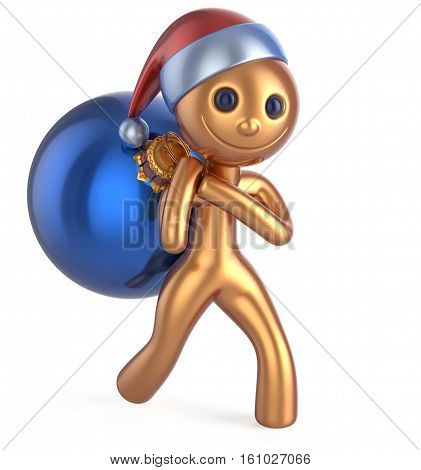 New Year's Eve smile man Santa Claus hat happy character carries bag Christmas ball decoration adornment ornament gold blue bauble. Traditional Xmas wintertime holiday invite concept. 3d illustration