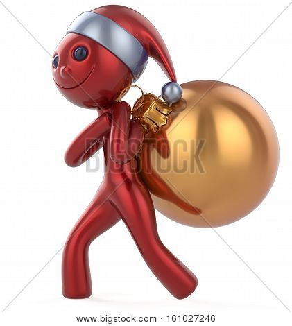 Santa Claus hat smile man New Year's Eve happy character carries bag Christmas ball decoration adornment ornament golden red bauble. Traditional Xmas wintertime holiday invite concept. 3d illustration
