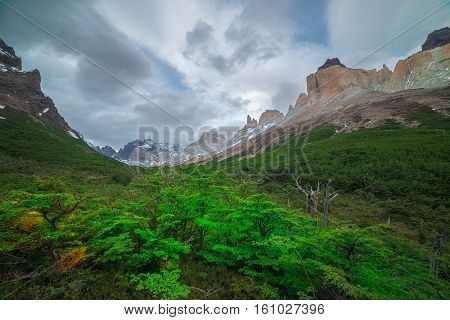 Windy day in Valle Frances, Torres Del Paine, Patagonia Chile.