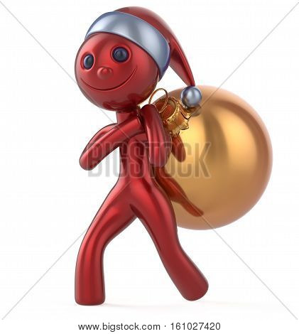 Santa Claus hat New Year's Eve smile man happy character carries bag Christmas ball decoration adornment ornament golden red bauble. Traditional Xmas wintertime holiday invite concept. 3d illustration
