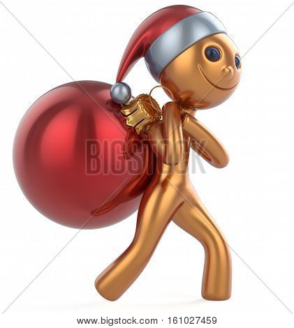 New Year's Eve happy man Santa Claus hat smile character carries bag Christmas ball decoration ornament red golden gift bauble. Traditional Xmas wintertime holiday invite concept. 3d illustration