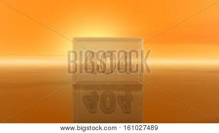 number 404 in glass cube - 3d illustration