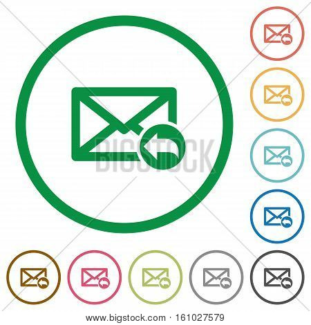 Reply mail flat color icons in round outlines