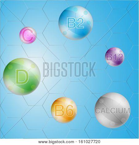 Serum and Vitamin Blue Background Concept Skin Care Cosmetic. calcium b1 b2 b6 b12 A C D vitamin vector