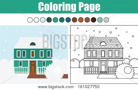 Coloring page with winter cottage house. Children educational game. Drawing kids activity, printable worksheet