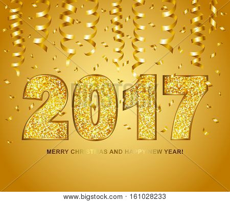 Happy new year 2017 type gold glitter texture with serpentine and confetti on gold background. Vector illustration.
