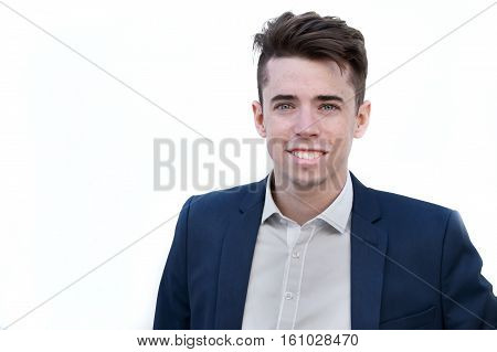 Confident Young Business Man Over White Bakcground