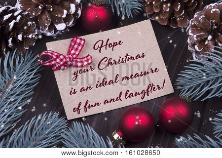 Christmas Xmas New Year Holiday Greeting Card With Christmas Balls Bell Ribbon Fir Branches Cones An