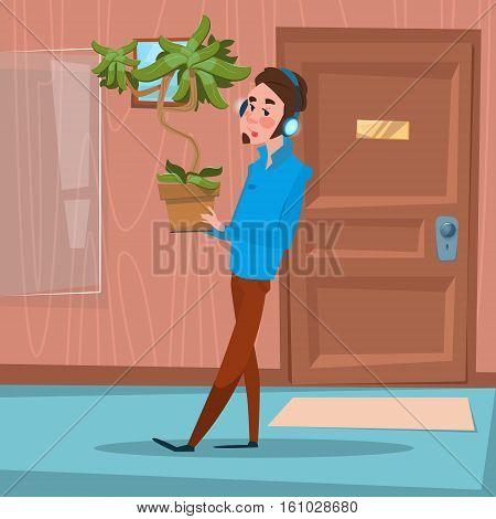 Business Man Hold Plant Office Stuff Recruitment New Job Position Vacancy Flat Vector Illustration