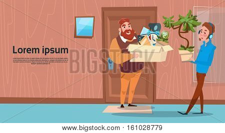 Two Business Man Hold Box With Office Stuff Recruitment New Job Position Vacancy Flat Vector Illustration
