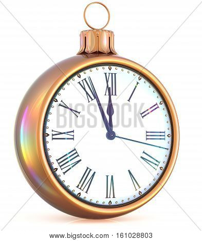 New Year's Eve last hour clock midnight countdown pressure Christmas ball ornament decoration gold white sparkly adornment bauble. Seasonal happy wintertime holidays begin future time. 3d illustration poster