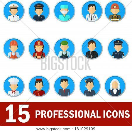 Icons male professions. Business man industry and services law-enforcement and judge chef and fireman. Templates without emotion for infographic sites. banners social networks. Flat vector icons.