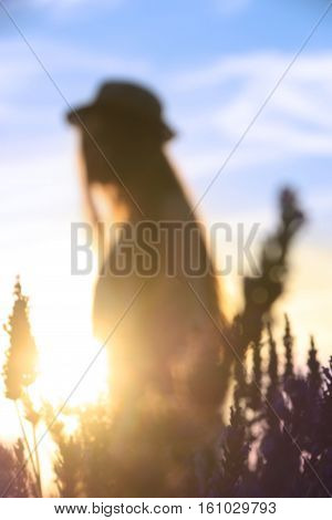A girl with a hat on in a lavender field out-of-focus scene.
