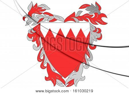 Bahrain Coat of Arms. 3D Illustration. Close Up.