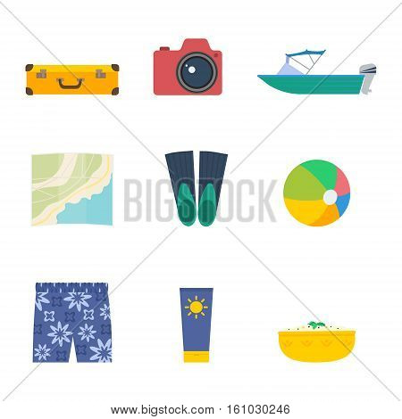 Summer trip vector set: travel suitcase photo camera motorboat map beachball sunscreen traditional food