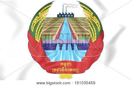 Kampuchea Coat Of Arms (1975-1979). 3D Illustration.