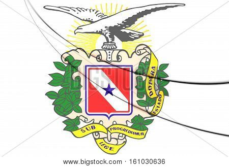 Para Coat Of Arms, Brazil. 3D Illustration.