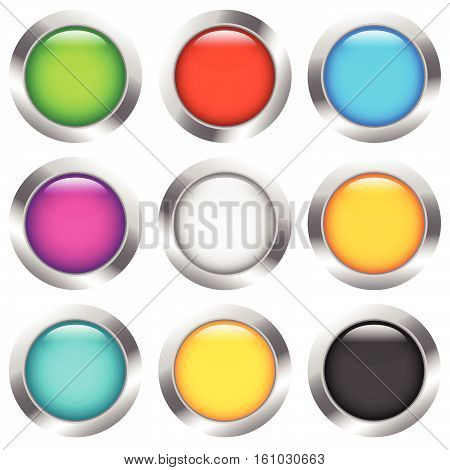 Glossy Colorful Circle, Sphere, Orb Icons With Blank Space In 9 Color