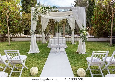 Wedding decorations for newlyweds. Decorated with flowers.