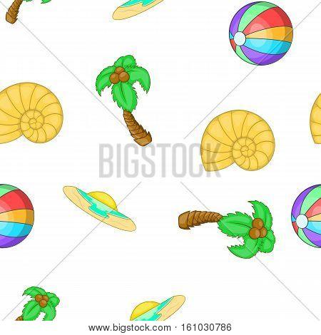 Summer holiday pattern. Cartoon illustration of summer holiday vector pattern for web design