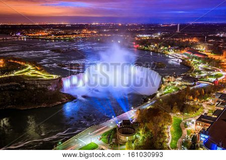 Bird View of Niagara Falls Canada and America during sunset