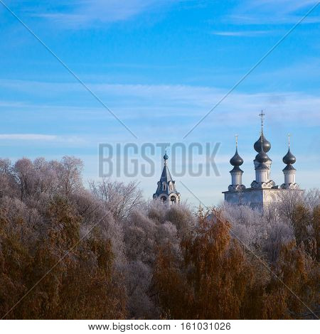 Russian Temple In The Frost Forest