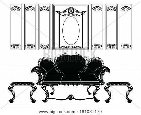 Classic wall frames and furniture. Interior design decoration panels and sofa upholstery. Frontal view. Vector