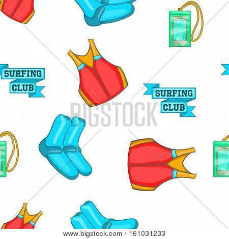 Surfing club pattern. Cartoon illustration of surfing club vector pattern for web design