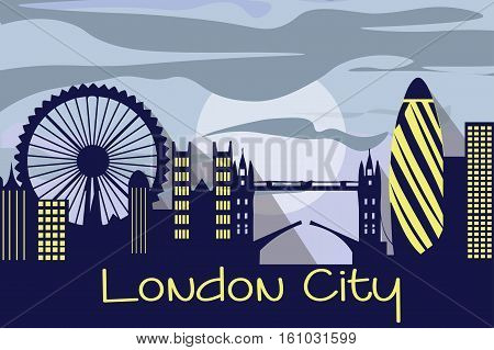 London city silhouette Vector. Linear banner of London city buildings
