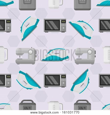Home appliances seamless pattern. Household kitchen equipment background with electric kettle and domestic microwave. Graphic cartoon technology for prepare food.