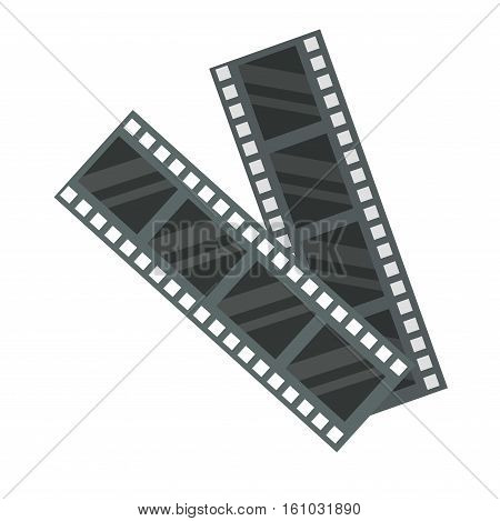 Film strip icon photography vector illustration. Camera photo negative modern exposure cinematography vintage reel. Media entertainment blank tape empty roll.