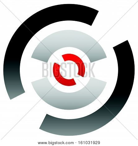 Crosshair Icon, Target Symbol. Pinpoint, Bullseye Sign. Concentric, Segmented Circles With Red Dot A