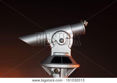 Panoramic telescope close up at night.Panoramic telescope.