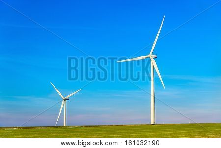 Wind turbines in a field in France, Marne Department
