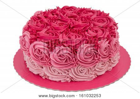 Pink cream cake for my birthday. On a white background.