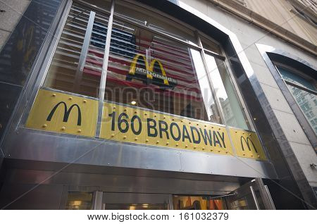 NEW YORK - MAY 2 2016: Entrance of the Broadway Mc Donalds settlement in Manhattan
