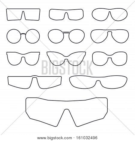 Spectacle frame isolated on white background. Various design frames for sunglasses and eyeglasses. Vector illustration.