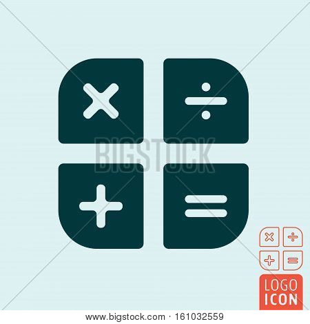 Calculator icon isolated. Basic calculation buttons. Vector illustration