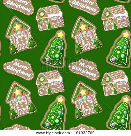 Merry Christmas seamless pattern with gingerbread houses and fir tree. Gingerbread with icing decor. Christmas gingerbread seamless pattern tile. Festive paper design. New Year pattern swatch tile