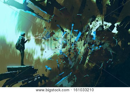 woman with electricity light bolt breaking the wall, illustration painting