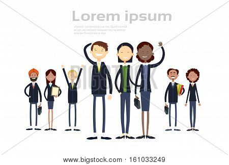 Ethnic Business People Group Full Length Mix Race Businessman And Businesswoman Team Flat Vector Illustration