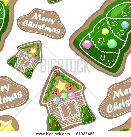 Gingerbread seamless pattern. Gingerbread house and fir tree handdrawn decor. Gingerbread pattern on white. Christmas gingerbread seamless pattern tile. Festive paper design. New Year pattern swatch